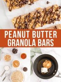 peanut butter granola bars on white parchment paper