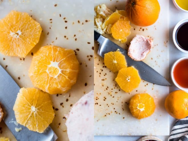 slices of orange on a cutting board