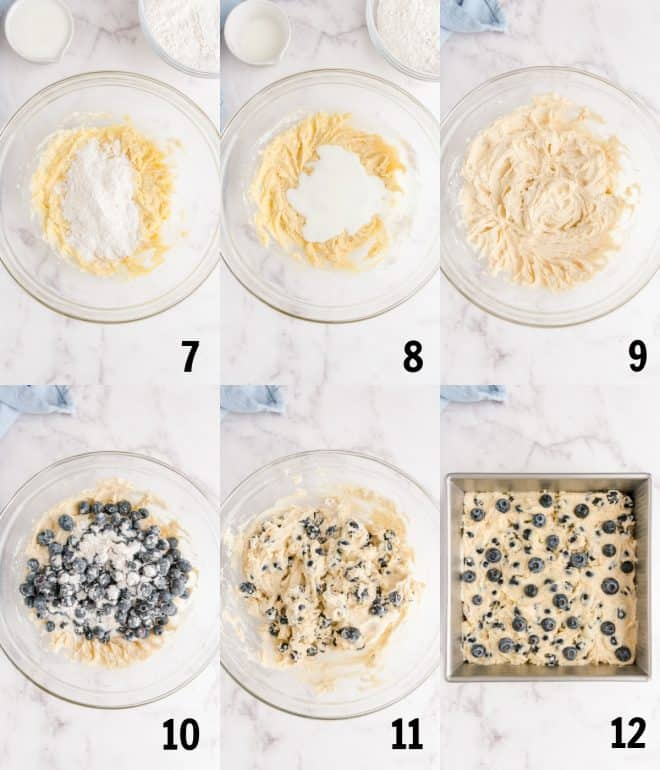 adding blueberries to mixture and placing in a square baking pan
