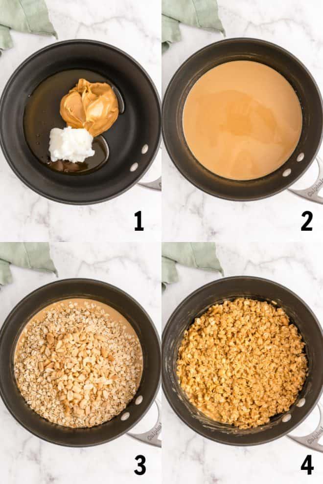 adding ingredients for granola bars to sauce pan