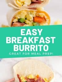 a cut breakfast burrito sitting on top of each other