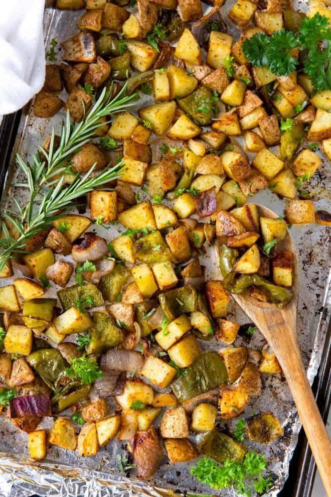 baked breakfast potatoes on a sheet pan