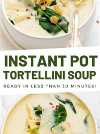 instant pot tortellini soup in a white bowl