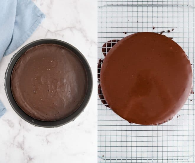 cake before and after chocolate ganache