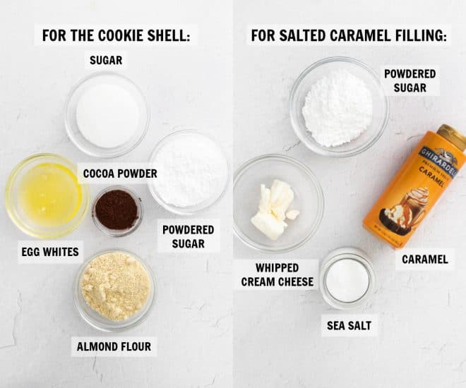 ingredients for chocolate macarons on white countertop