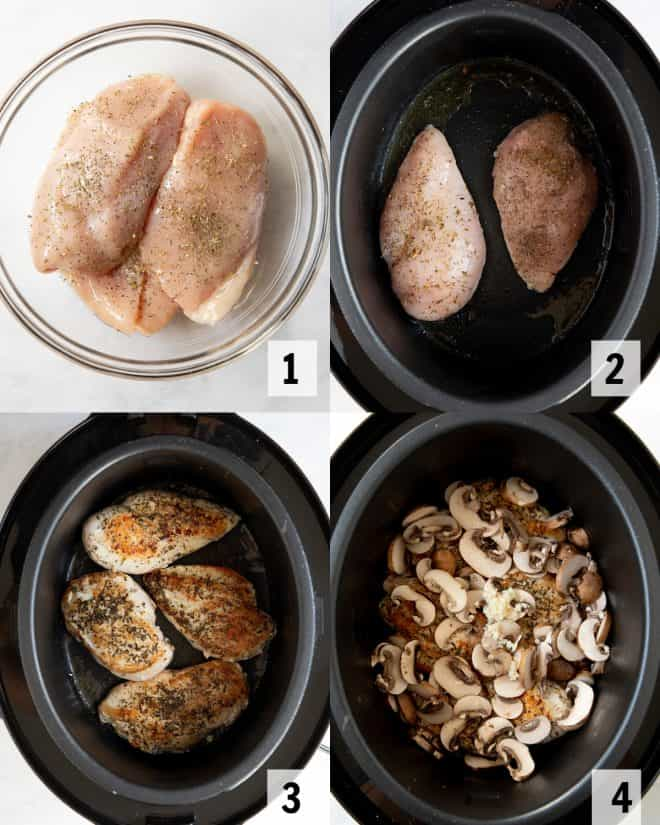 steps to make slow cooker chicken marsala