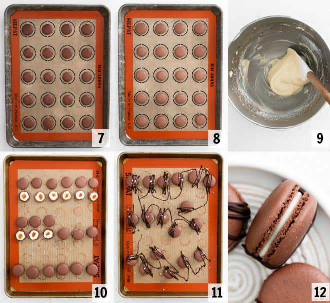 baking and filling macaron shells with frosting and salted caramel