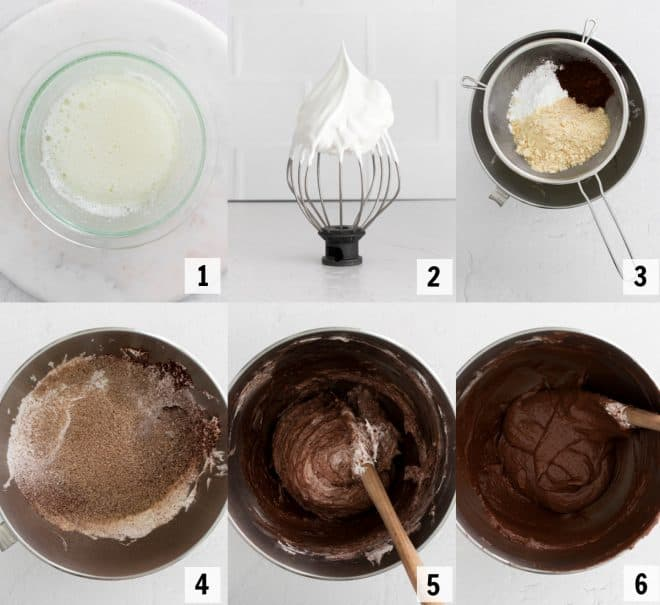 mixing together macaron shell ingredients in mixing bowl