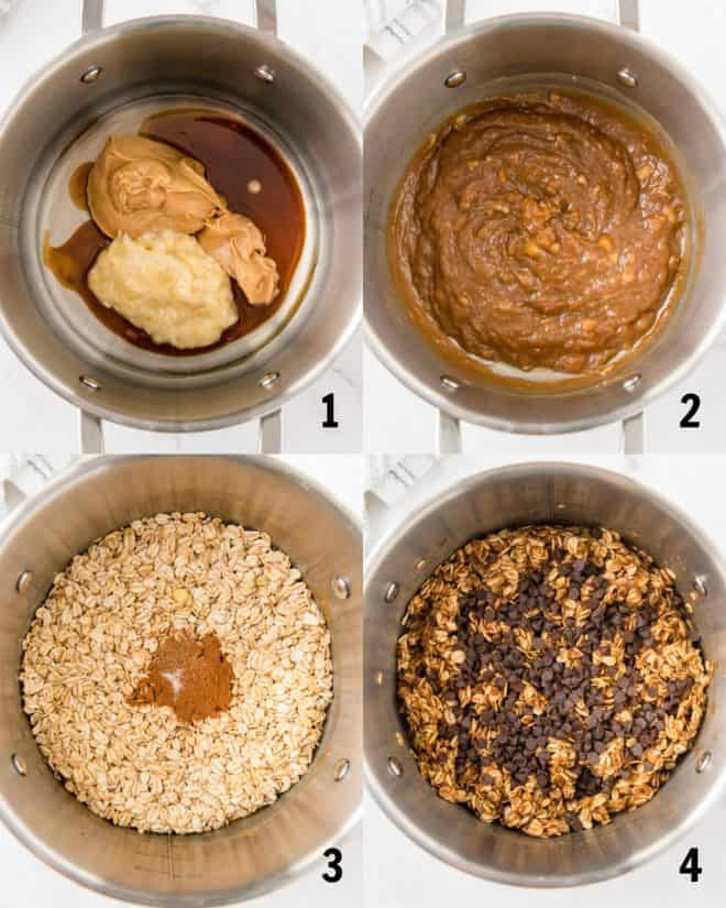 mixing together ingredients for cookies in a saucepan