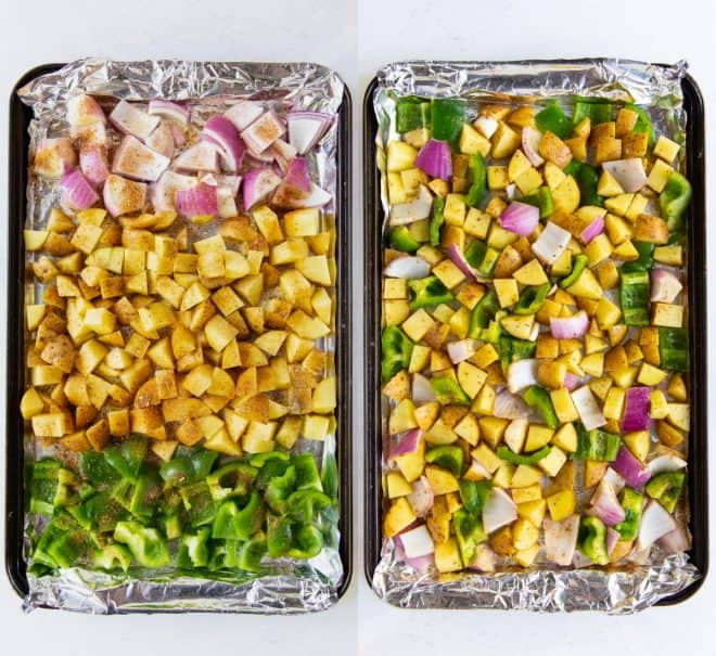 raw ingredients for potatoes on a baking sheet