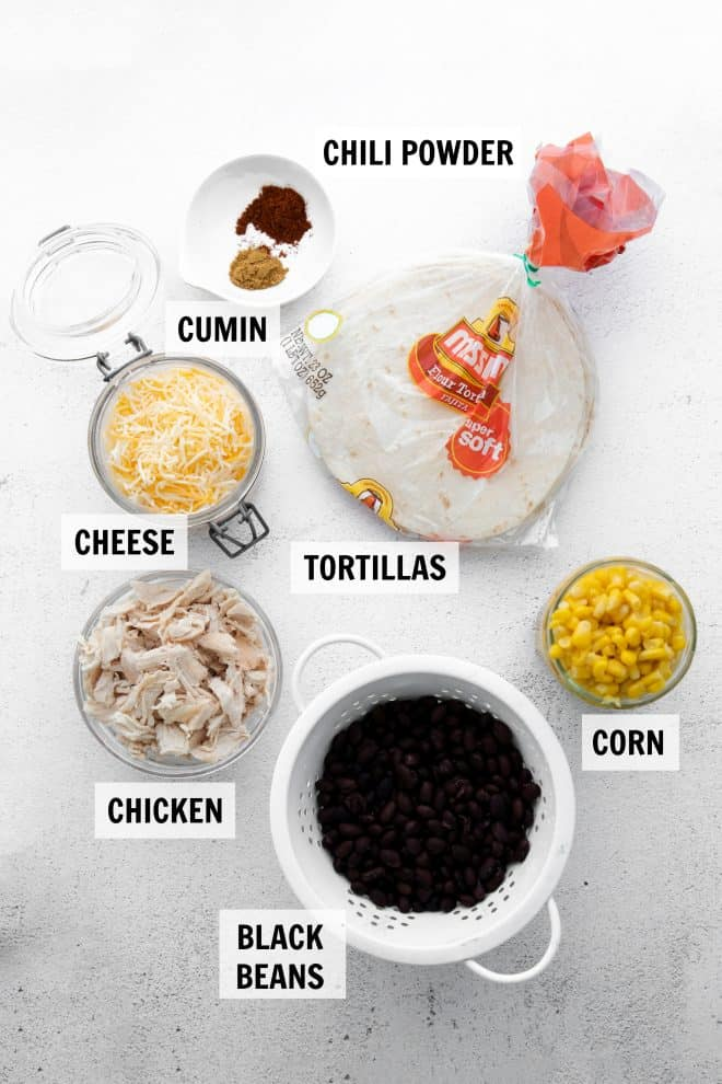ingredients for quesadillas on white tabletop