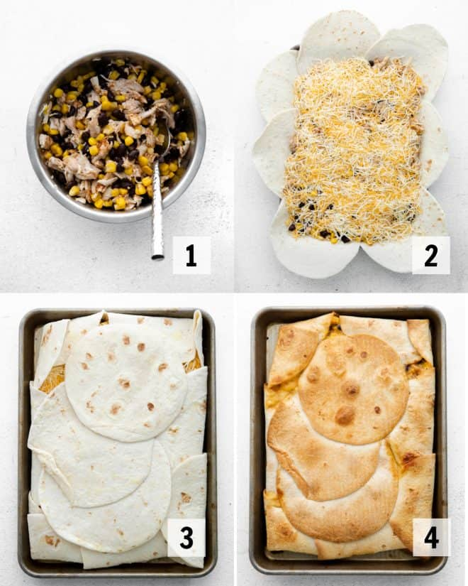 mixing together ingredients and assembling for sheet pan quesadillas
