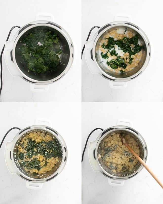 mixing together ingredients for the pasta in an instant pot