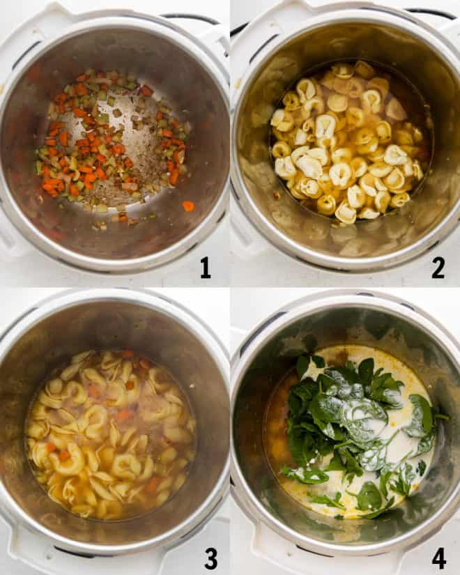 cooking ingredients for tortellini soup in instant pot