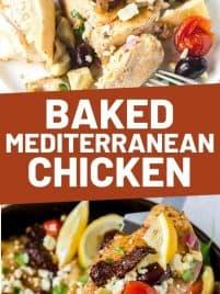 baked mediterranean chicken in a pan