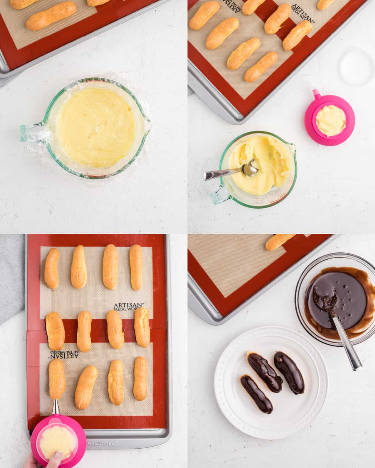 Four images showing the process of stuffing eclairs with filling and topping them with glaze.
