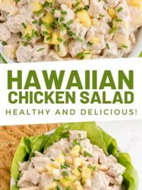a bowl filled with hawaiian chicken salad with diced pineapple and macadamia nuts on top