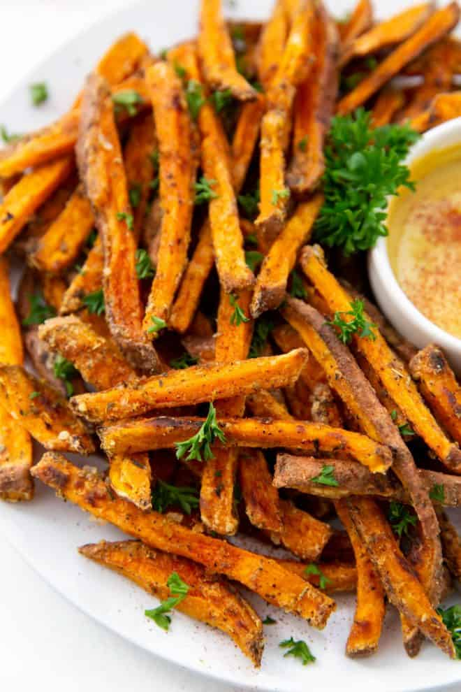 baked sweet potato fries on a plate