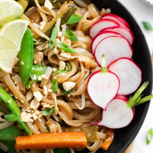 A bowl filled with instant pot pad thai