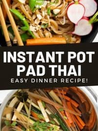 instant pot pad thai in a black bowl