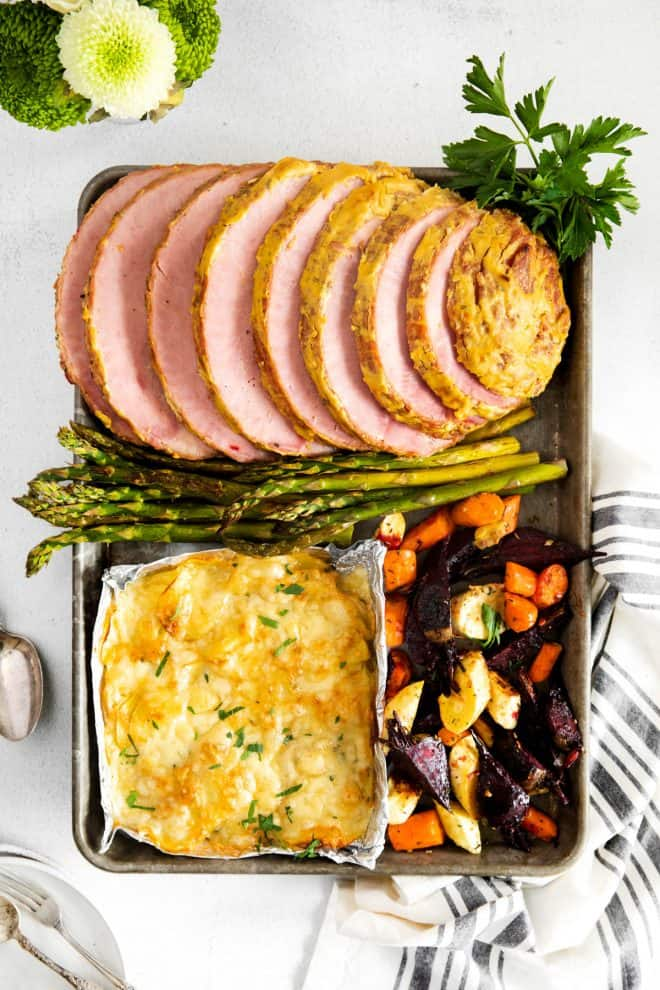 easter dinner on a sheet pan after baking
