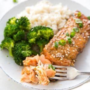 A plate with flaky teriyaki salmon, rice and broccoli