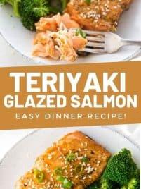 piece of teriyaki glazed salmon on a plate with broccoli and rice