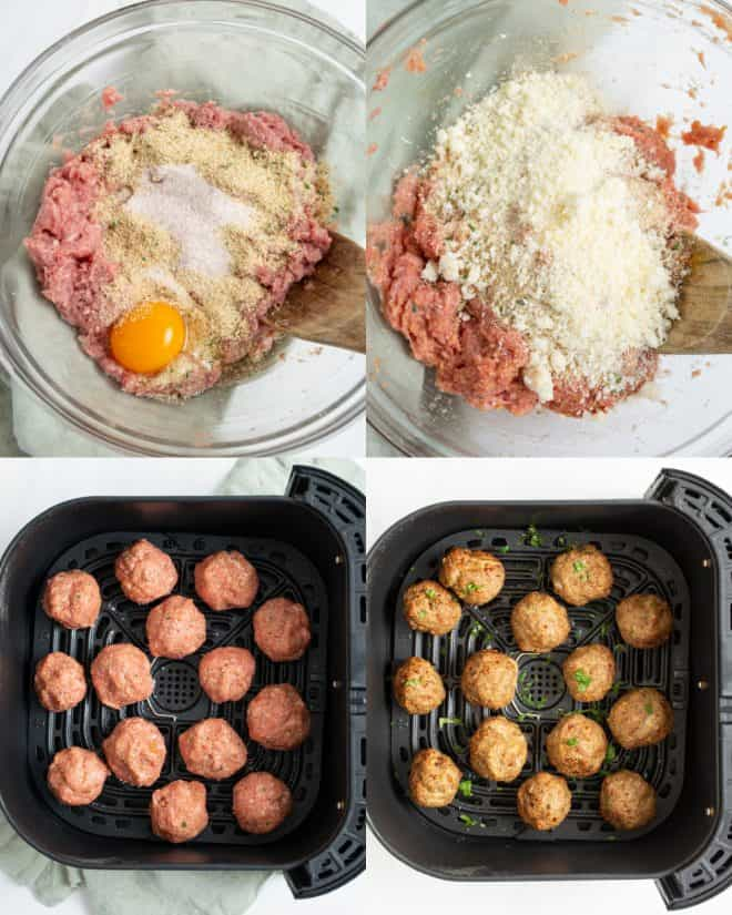 mixing together ingredients for meatballs in a bowl then shaping into balls