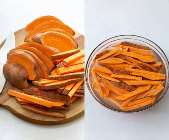 cut sweet potatoes in a bowl with water