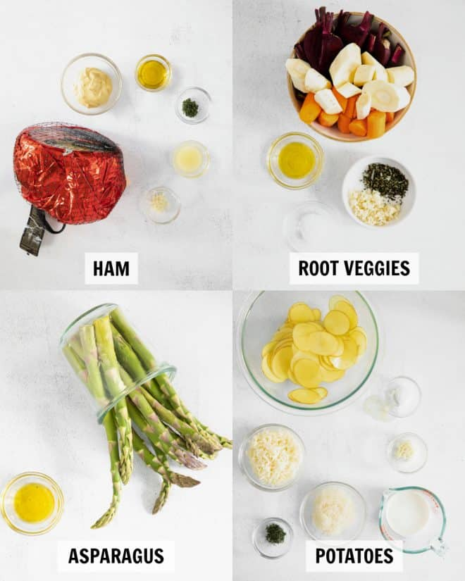ingredients for the easter sheet pan on a white backdrop