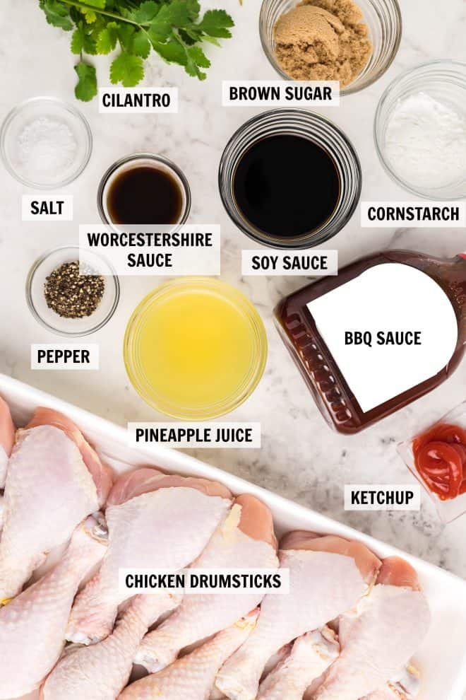 The ingredients to make BBQ Hawaiian Chicken in measured cups.