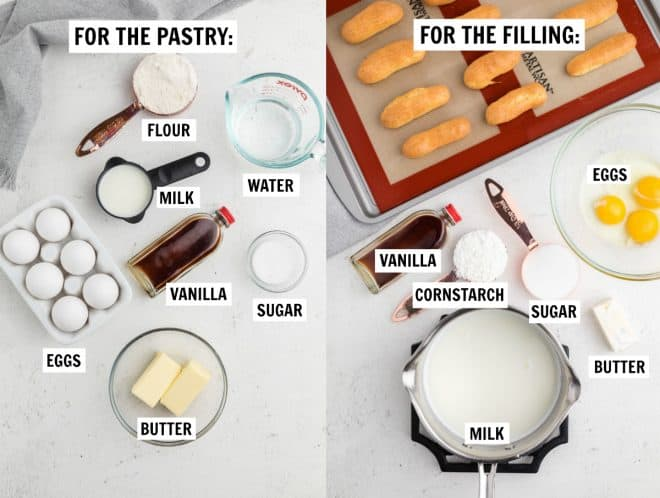 Two images showing all the ingredients needed for choux pastry and vanilla cream filling.