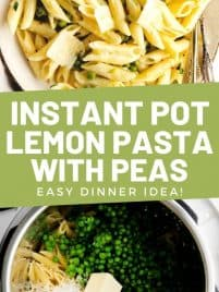 easy lemon pasta with peas on a plate