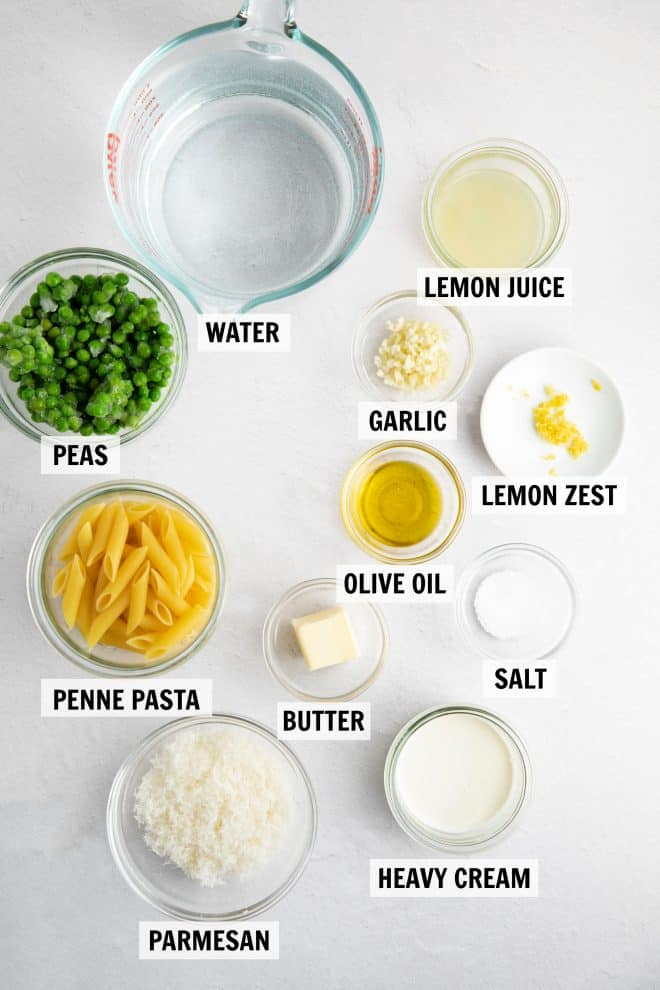 ingredients for lemon pasta on a white tabletop