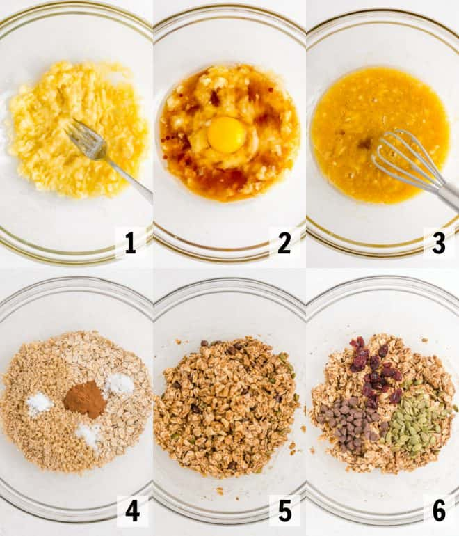mixing together ingredients for granola breakfast bars in a bowl