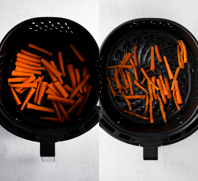 cooking carrot fries in the air fryer
