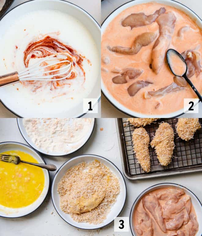 coating chicken and adding to pan to bake