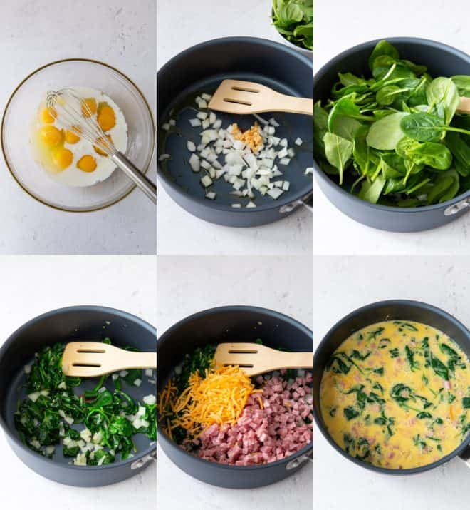 mixing together ingredients for frittata