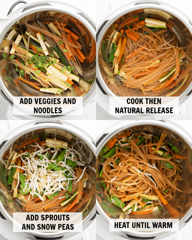 4 images with the ingredients of Instant Pot Pad Thai at different stages of cooking