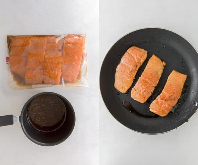 One side shows salmon fillets in a ziploc bag with marinade, the other salmon fillets in a pan.