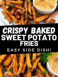sweet potato fries on a plate with dipping sauce