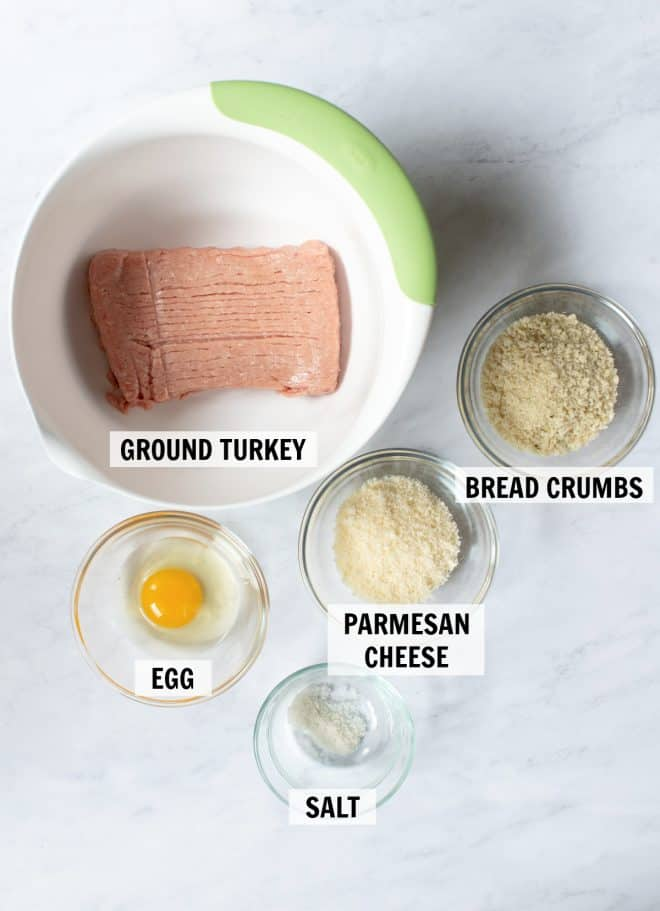 ingredients for turkey meatballs on tabletop