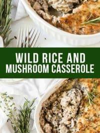 mushroom casserole in a baking dish