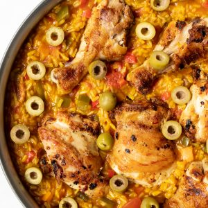 spanish chicken and rice in a skillet