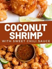 coconut shrimp on a plate with a small bowl of sweet chili sauce