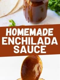 Two images of homemade enchilada sauce in a jar