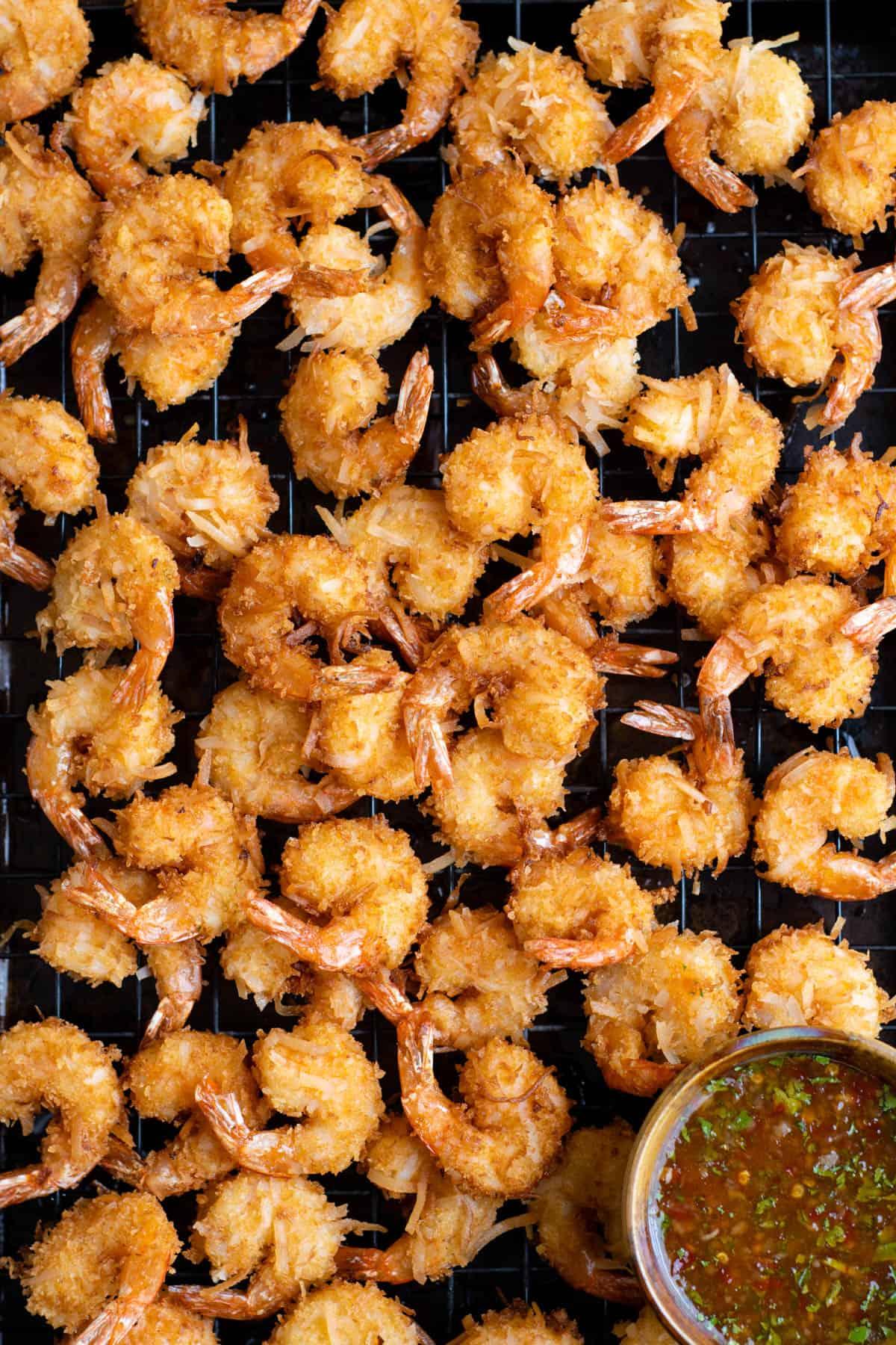 a pan of fried coconut shrimp