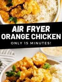air fryer orange chicken on a plate with white rice