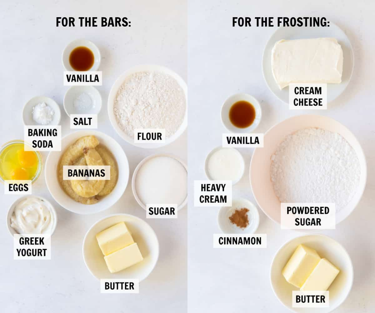 All of the ingredients for banana bars and cream cheese frosting measured into white bowls