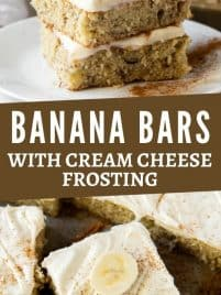 two banana bars with cream cheese frosting